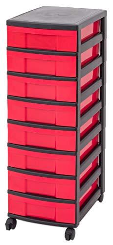 Unbekannt IRIS Schubladenbox mit Rollen, Kunststoff, rot/schwarz (8 kleine) - Schubladenschrank Schubladen-Container stapelbar Rollwagen Rollcontainer Werkzeugschrank Keller (Iris Rollen)