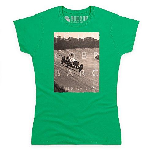 Official LAT Photographic John Cobb, BARC 500 miles T-Shirt, Damen Keltisch-Grn