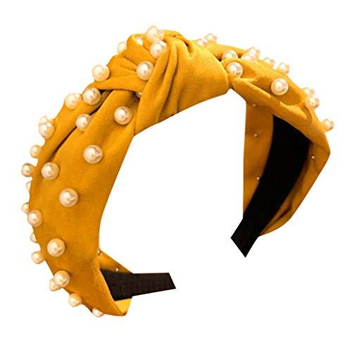 kolila Billig Stirnband Haarspange Ausverkauf !!! Damenmode Breitseite Crystal Pearl Zubehör Twisted Haarband Stirnbänder(Gelb)