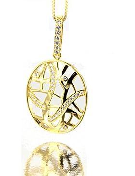 ER Hochwertiger Anhänger 925 Sterling Silber - Gelbgold vergoldet mit glänzenden Zirkonia Steinen an einer 40...