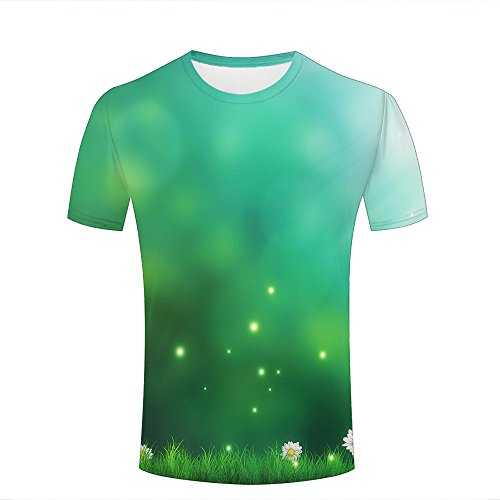 qianyishop Mens 3D Print T-Shirts Dreamy Meadow and Daisies Casual Couple Green Tees