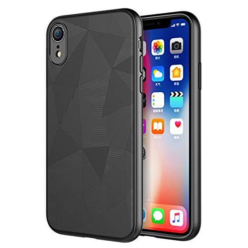 Schutzhülle für iPhone XR, Flexibles TPU Slim Scrub Cover [Water Cube Textur] [Unterstützt Wireless Charging] Anti-Fall Soft Case für iPhone XR 6.1 Zoll (2018), schwarz -