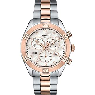 Tissot PR 100 – Reloj cronógrafo para Mujer (Esfera de nácar y Diamante, Dos Tonos)