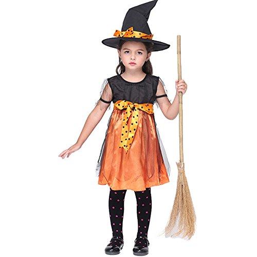 Land Size Plus Kostüme (Mädchen Halloween Hexe Kostüme Kleid KarikaturKostüm Cosplay Hexekleid HexeKostüme für Kinder Elegentes Halloween Kostüme kleid TanzKostüme Bühnentracht)