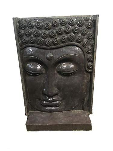 Neo-Therm Buddha-Kopf (Relief mit Sockel als Wasserspiel), ca. 155 cm Höhe, Steinguss, Gartendekoration, -