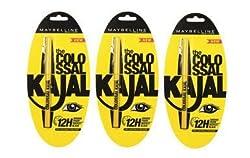 Maybelline colossal Kajal Balck 0.35gm (Pack of 3)
