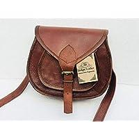 Shakun Leather sac bandoulière en cuir vintage authentique marron pour femmes, 9 Pouces