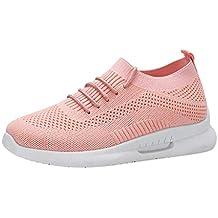 Zapatillas de Deporte Mujer Verano Tejidas Volantes Malla Transpirable Sports Moda Casual Zapatos para Correr sin