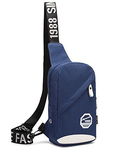 Outdoor peak Nylon Herren Tasche Brusttasche Sport Rucksack schwarz (blau) blau