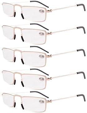 Eyekepper Gafas de lectura 5-Pack Marco de metal estampado Recta Delgado estilo mitad-ojo
