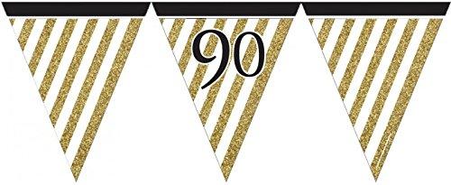 34 Teile Dekorations Set zum 90. Geburtstag oder Jubiläum – Party Deko in Schwarz & Gold - 4