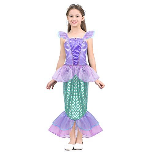 dPois Mädchen Ärmellos Kleid Prinzessin Kostüm Meerjungfrau Kleid Partykleid Fliegend Ärmel Tops mit Fischschuppen Rock Halloween Kostüm Gr. 104-140 Lavender&Grün ()