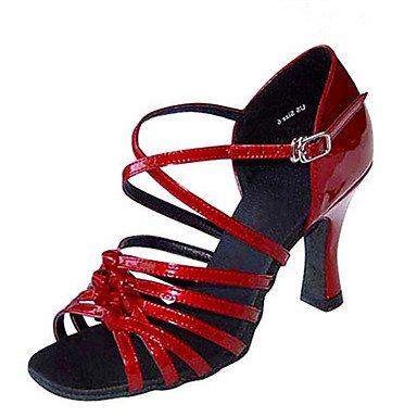 Silence @ Chaussures de danse pour femme en satin en similicuir Latin Jazz Swing Chaussures Salsa Sandales talons Heelpractice doré