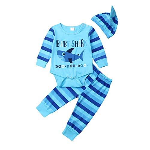 Mengying Baby Bekleidungs-Set für Neugeborene, niedliches Haifischmotiv, langärmeliges Oberteil + lange Hose + Mütze, 3-teiliges Set Gr. 6-12 Monate, blau - 6 Teiliges Bekleidungs-set