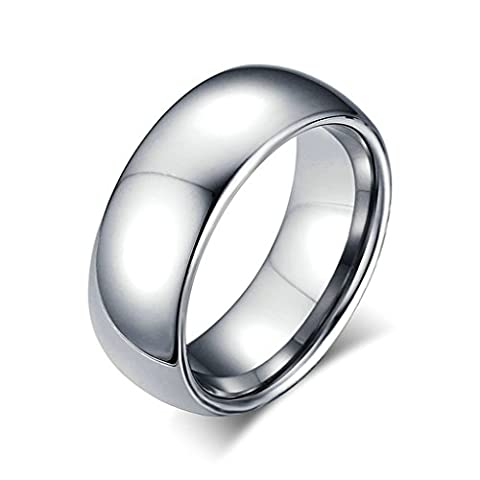 Beydodo Stainless Steel Ring For Men(Wedding Band),Comfort Fit High Polish Finished 8MM Silver Size T 1/2