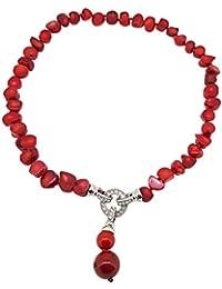 TreasureBay - Collar de coral rojo natural con colgante de gota para mujer 16a0f5ac305