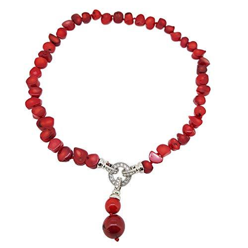 f1d18df43b26 TreasureBay - Collar de coral rojo natural con colgante de gota para mujer