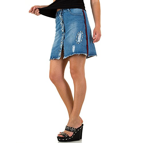 Ital-Design Destroyed Perlen Jeans Rock Für Damen, Blau in Gr. S (Perlen Rock)