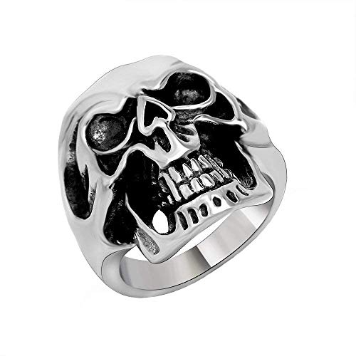 ahl Domineering Schwarz Silber Punk Schädel Ring Holloween Band ()