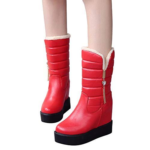 (MYMYG Damen Boots Bottom Dicke Damen Kristall Stiefel Samt Warm Mittleres Rohr Stiefel Runde Kopf Boot Wasserdicht Walkingschuhe Freizeitschuhe Schlupfstiefe PU Lederschuhe)