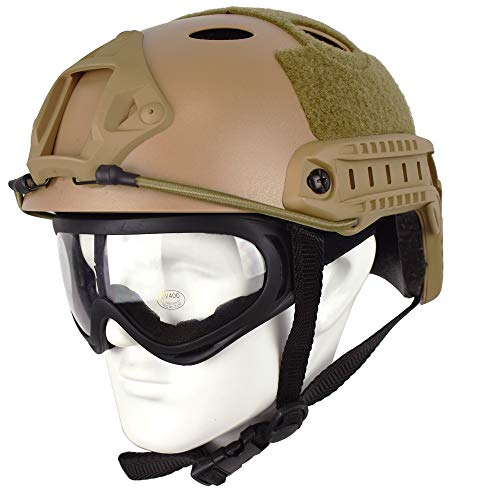 QHIU Tactique Type de Fast PJ Protecteur léger de Casque Combat pour SWAT Airsoft Paintball CS et Lunettes(DE)
