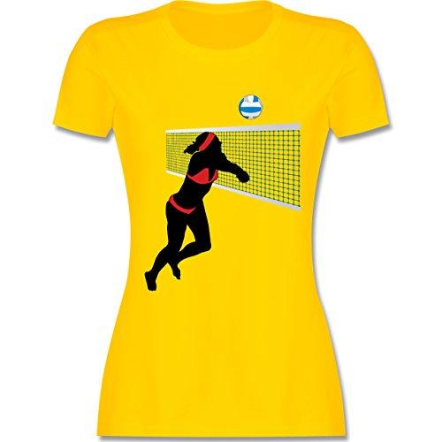 Volleyball - Beachvolleyballspielerin Baggern Netz Ball - tailliertes Premium T-Shirt mit Rundhalsausschnitt für Damen Gelb