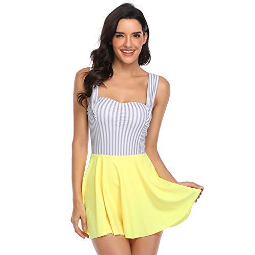 TwoCC Frauen \'S Zweiteilige Tankini Set Badeanzug Mit Bottoms Plus Size Floral Bedruckte Bademode Badeanzüge Badeanzüge(Gelb,XL) (Gelb, XL)