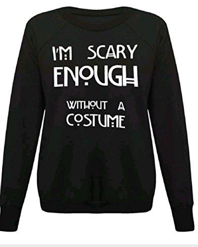 Damen Mädchen Halloween-Skelett , figurbetontes Kleid Leggings Bodysuit plus EUR Größe 36-54 (S/M (EUR 36-38), Im beängstigend genug, auch ohne Kostüm schwarz Sweatshirt-) (Scary Skeleton Kind Mädchen Kostüme)