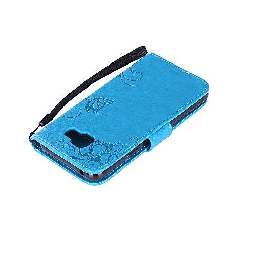 Samsung Galaxy A3 2016 Hülle,Samsung Galaxy A3 2016 Leder Wallet Tasche Brieftasche Schutzhülle,Cozy Hut Schmetterling Ameise-Dating Muster Schutzhülle für Samsung Galaxy A3 2016 Hülle Flip Case Walle blau