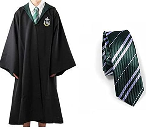 Harry Potter Jugend Erwachsene Robe with tie Umhang Slytherin Fancy Dress Cosplay (Size L) (Harry Potter Umhang)