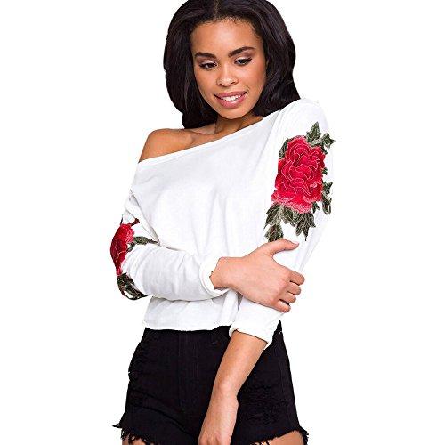 TIFIY Frauen Damen Frühling Herbst Applikationen Blumenstickerei lose lange Ärmel Off-Shoulder Tops Bluse Shirt Casual T-Shirt (M, Weiß) (Falten Kordelzug Rock)