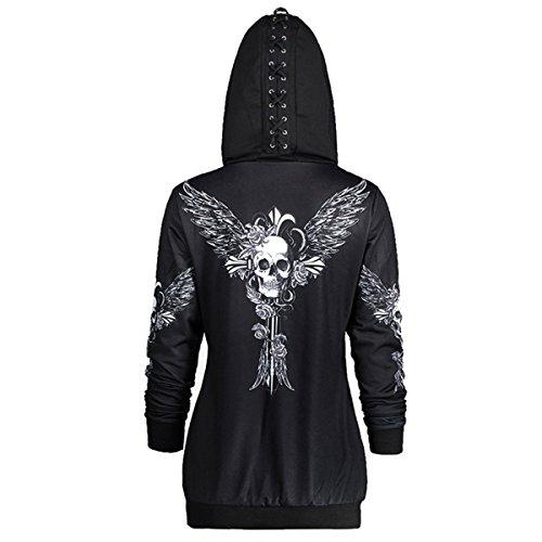 Kangqi Mode Frauen kausalen Zipper Hoodie Skull Wings Print Kapuzenjacke Mantel lose Sweatshirt (Farbe : Black, Größe : 5XL) Skull Mantel