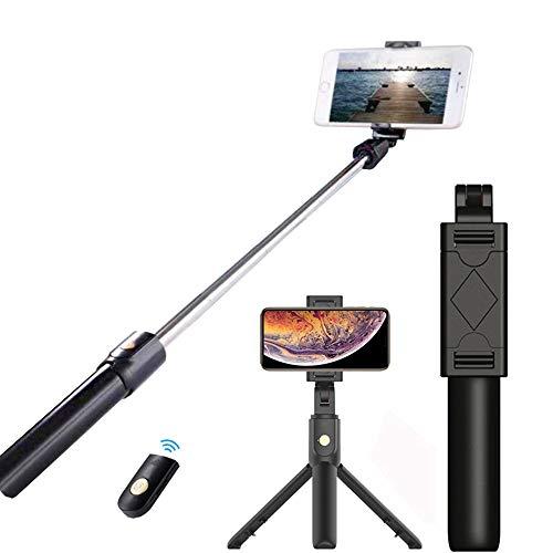 Enllonish Selfie-Stick, ausziehbare Stativ-Halterung mit Abnehmbarer kabelloser Fernbedienung für Reise-Fotos, Stativ für iPhone XS/XR/X/8 Plus/7 Plus, Samsung S10/S9/S8 Plus/Note8, Huawei (schwarz)