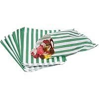 La carta borsa Company 5x 7sacchetti di carta a righe, confezione da 100, colore: verde, confezione da 100