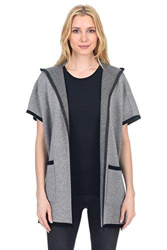 State Fusio Felpa con cappuccio donna in lana di lana cashmere a maniche corte Cappotto Cardigan anteriore aperto con tasche Grigio/Nero