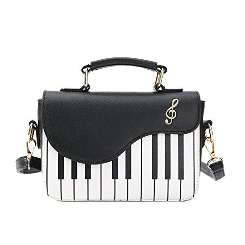 SODIAL Schwarz Neu Mode-Hit-Farbe Klavier Drucken Handtasche suesse frische Windschulter Diagonale tragbare kleine Tasche -