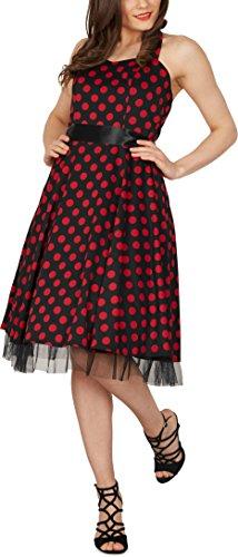Black Butterfly 'Rhya' Vintage Polka-Dots Kleid im 50er-Jahre-Stil (Schwarz – Rote Punkte, EUR 38 – S) - 4