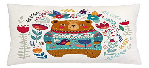 Trsdshorts Bear Throw Pillow Cushion Cover, Adorable Cartoon Figure with Flowers and Leaves Spring Inspired Botanical Composition, Decorative Square Accent Pillow Case, 18 X 18 Inches