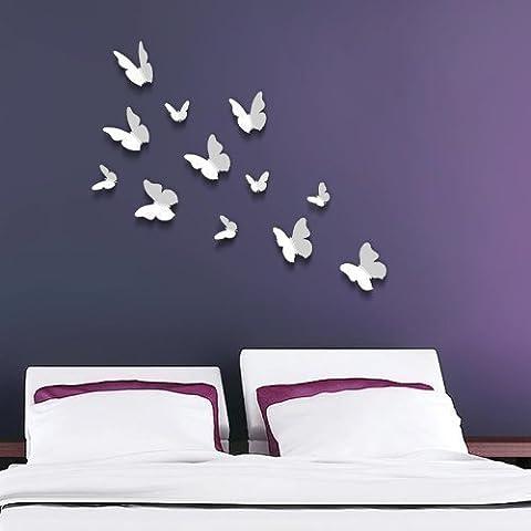 Walplus Autocollants Muraux 12pcs Papillons Blancs 3D Amélioration Déco