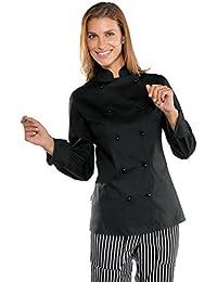 Isacco - Veste noire de cuisine stretch pour Femme