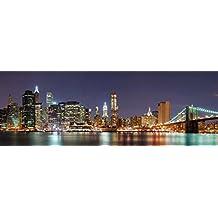 Cuadros de ciudades cabero cama dormitorio o salón moderno: Noche Iluminada New York (148 x 48 cm)