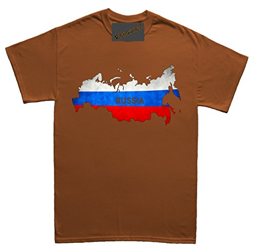 Renowned Russia Flag Map Grunge Unisex - Kinder T Shirt Braun