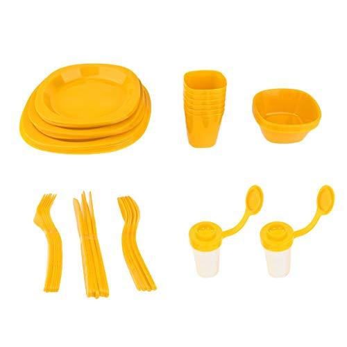 Tubayia 6 Person Kunststoff Besteck Set Campingbesteck Geschirr Besteck für Camping Picknick (Gelb)