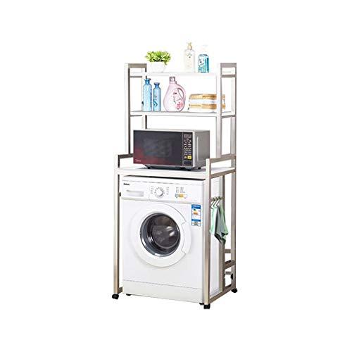 YEQING 3-lagiges Ablagefach für die Waschmaschine mit Rädern - Universal-Badezimmerregal aus Edelstahl - Waschraumtoilette - Trommelwaschmaschine - Ablagefach für Cubby - Silber -