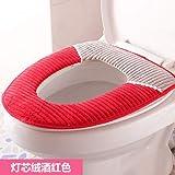 LSGDSXMIY Toilettenkissen Kissen gepolsterte Toilettensitz Winter Universal-Reißverschluss wasserdicht Toilettensitz Toilettensitz WC Sitzkissen, Cord weinrot