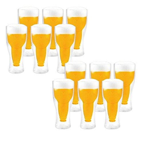 LABT Doppelwandige Thermo Biergläser 12er Set mit 340ml Füllmenge - genießen Sie länger Ihr kühles Bier !!!