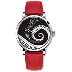 Damenuhr Analog Armbanduhr iCreat Rot echte Leather Schnalle Schönes Zifferblatt mit Musik Note Piano Keys Schwarz Weiß