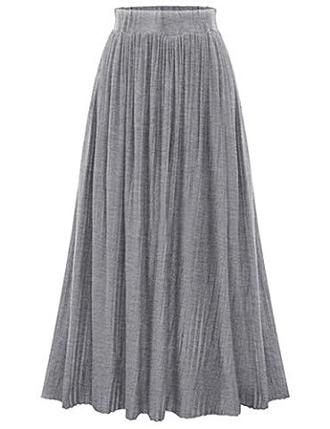 YesFashion Femme Jupe Longue Casual Uni Rplient Style Rétro Vintage Taille Bande élastique Jupe Tricoté Gris Taille Unique