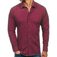 Herren Oberteile,TWBB Casual Einfarbig Nähen Shirt Männer Tops V-Ausschnitt Lange Ärmel Schlank Hemd Persönlichkeit Sweatshirts