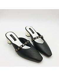 Qingchunhuangtang@ Con un grueso cinturón sandalias de Baotou Square en primavera y verano sandalias zapatillas...